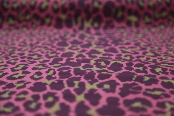 Seidentaft Bedruckt Dunkelrosa Leopardmuster Meterware