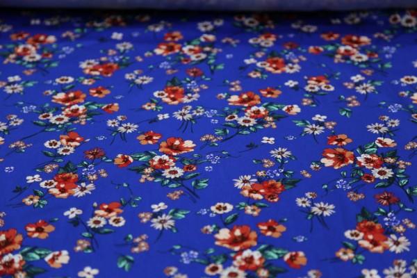 Baumwollstoff Bedruckt Grundfarbe Blau Blumenmuster Meterware