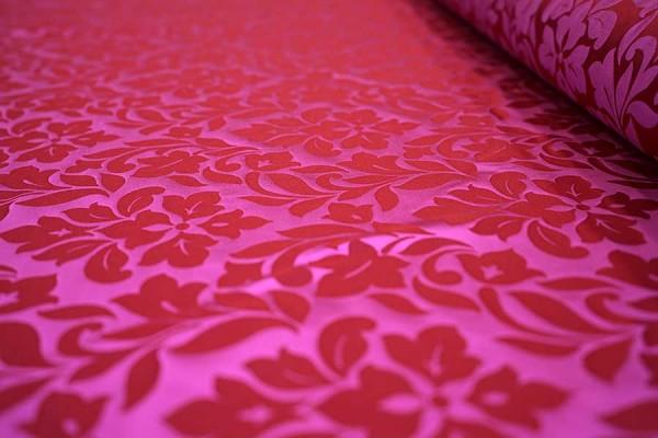 Seiden Jacquard Pink Rot Meterware